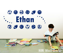 PERSONALISED Customise your kids name with sport balls wall sticker AU $20.76