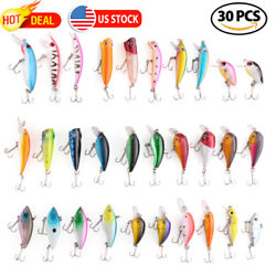 30x Fishing Lures Crankbaits Treble Hooks Minnow Crank Baits Tackle Bass Minnow $19.99
