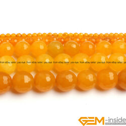 Yellow Jade Gemstone Faceted Round Beads For Jewelry Making 15