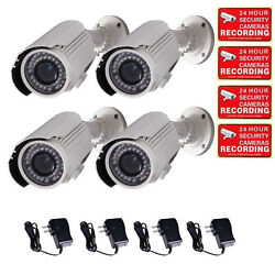 4x Security Camera w SONY EFFIO CCD 700TVL Outdoor IR Day Night Zoom Bullet A30