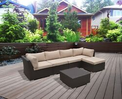 SUPERNOVA 6PC Outdoor Patio Wicker Furniture All Weather Sectional Sofa Set