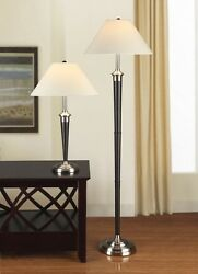 Artiva USA 9431MX Brushed Steel and Espresso Table and Floor Lamp Set of 2 $179.99