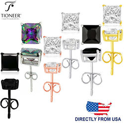 Sterling Silver 925 Princes Square Cut Cubic Zirconia Men Women Ear Stud Earring $7.75