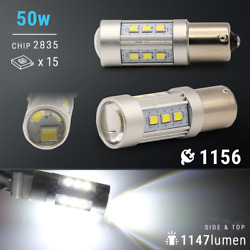 2X 1200 Lumens 1156 50W High Power Chip LED White Reverse Back Up Lights Bulbs $11.99