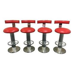 Set Of Four Reeded Column Swivel Bar Stools by Designs for Leisure