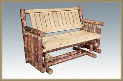 Amish Outdoor Glider Bench Handcrafted Rustic Log Deck Furniture Log Benches