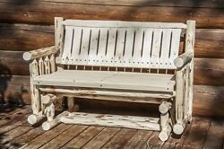 Outdoor Wood Gliders Log Deck Bench Rustic Benches Handcrafted Lodge Amish made
