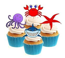 Novelty Under the Sea Mix 12 Edible Stand Up wafer paper cake toppers birthday GBP 2.79
