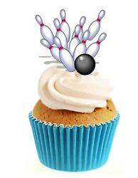 Novelty Bowling Ball amp; Pins 12 Edible Stand Up wafer paper cake toppers birthday GBP 2.79