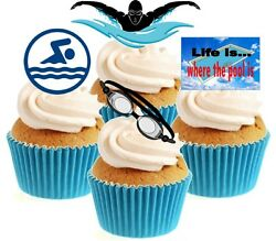 Novelty Swimming Mix12 Edible Stand Up wafer paper cake toppers birthday GBP 2.79