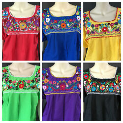 WOMENS PEASANT EMBROIDERED MEXICAN HANDMADE BLOUSE ASSORTED COLORS AND SIZES $22.99