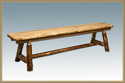 Amish Dining Table Bench Rustic Log Kitchen Benches Cabin Furniture 6 ft long