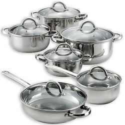 Heim's 12 Pieces Cooking Pots and Pans Kitchen Stainless Steel Cookware Set Lids $69.95