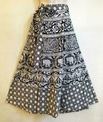 Hippie Bohemian Festival India Ethnic Jaipuri Block Print Wrap Skirt Black White $24.99