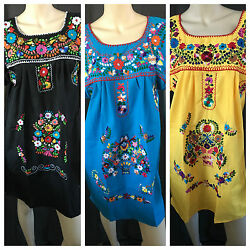 ABOVE KNEE EMBROIDERED MEXICAN PEASANT HIPPIE MINI BOHO DRESS  S M L XL XXL  $24.99
