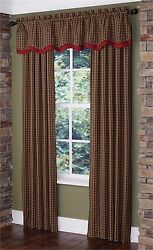 Park Designs Cabin Panel Pair Lined Drapery 2 sizes Green Plaid Curtain
