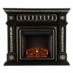 Southern Enterprises Donovan Electric Fireplace in Black Finish and Gold Accents