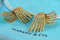 Tiffany & Co Vintage Jean Schlumberger Rope Design 18K Yellow Gold Earrings
