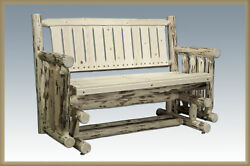 Rustic Outdoor Log Glider Benches Lodge Cabin Handmade Patio Seating