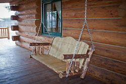 Rustic Log Porch Swing Hanging Porch Swings Wood Seat with Chains