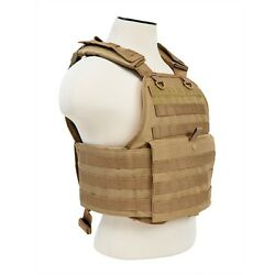 NcStar TAN Police Military Tactical MOLLE / PALs Adj Plate Carrier Vest $48.95