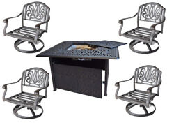 Propane Fire Pit Elisabeth 5pc Deep Seating Set Outdoor Cast Aluminum Furniture.