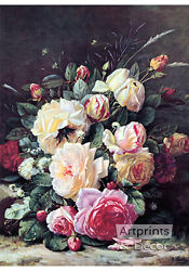 A Still Life with Roses by Jean Baptiste Robie Art Print of Vintage Art $16.99