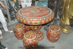 Old Chinese Royal bronze Cloisonne 9 dragon Elephant table Desk chair Stools Set