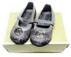 Michael Kors Lil Minette Little Girls Shoes With Silver MK Logo $32.99