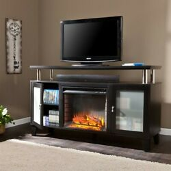 Entertainment Center Cabrini Fireplace TV Stand in Black Transitional