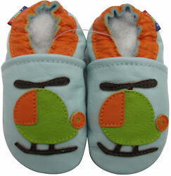 carozoo helicopter light blue 3 4y soft sole leather toddler shoes $13.99
