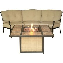 Hanover Traditions 2pc Fire Pit Set - 1 Tiled Fire Pit 1 Crescent-shaped Sofa