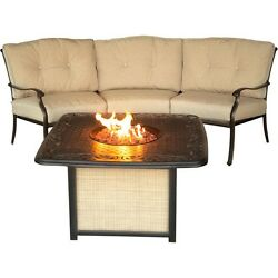 Hanover Traditions 2pc Fire Pit Set -1 Crescent Sofa 1 Cast Top Fire Pit wlid