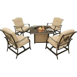 Hanover Traditions Outdoor Patio Set 5pc - 4 Rockers & Fire Pit TRADITIONS5PCFP