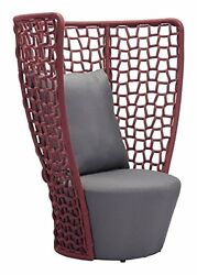Faye Bay Beach Chair Cranberry & Gray of Colors (by Zuo Modern)