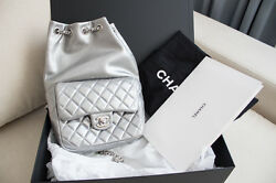 NWT 2016 Small Chanel Silver Leather backpack