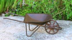 RUSTIC COUNTRY TIN MINIATURE WHEELBARROW FAIRY GARDEN OR DOLLHOUSE 6quot; by 2.5quot; $4.99
