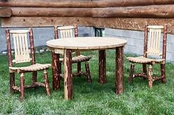 Rustic Outdoor Table Chair Set Amish Made Log Patio Table Chairs Set