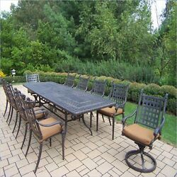 Oakland Living Belmont 11 Piece Metal Patio Dining Set in Aged