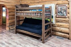 Farmhouse Style Futon Bunk Bed Rustic Log Cabin Bedroom Furniture Twin