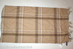 NWT $450 New Ralph Lauren Collection Scarf Cashmere Tan Brown Blue Womens Mens
