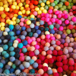 Lot of 2100 Handmade Beads Multicoloured Pure Wool Felt Balls Craft Supply DIY