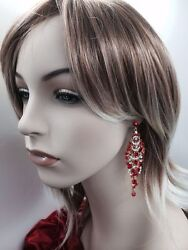 18K Gold Plated Red Crystal Rhinestone Chandelier Fashion Party Bridal Earrings $15.99