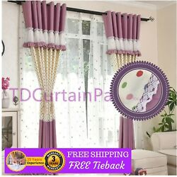Purple Blockout Valance Design Bedroom Fabric Drapes+Sheer Curtains Eyelets Rods