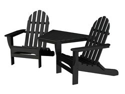 POLYWOOD Polywood Adirondack Tete-A-Tete In Black TT4040BL Adirondack Chair NEW