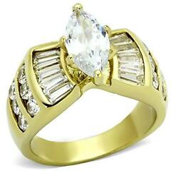 Stainless Steel Marquise CZ Engagement Promise Cocktail Women#x27;s Gold GP Ring $14.39