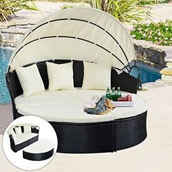 Outdoor Patio Daybed Wicker Canopy Garden Furniture Pool Sun Lounger Chair Bed