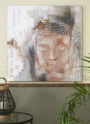 Buddha Stretched Canvas Zen Wall Oil Print 39.4quot; x 39.4quot; Brown amp; Grey $149.99