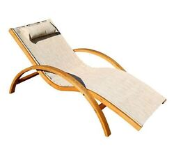 New 28 in. H Brown Wood Sling Outdoor Patio Lounge Chair Cushion Included