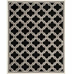 New Amherst AnthraciteIvory 8 ft. x 10 ft. Indoor Outdoor Patio Deck Area Rug